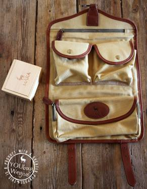 Mara&Meru™ Canvas & Leather Selous Travel Toiletry Bag, with wooden soap box