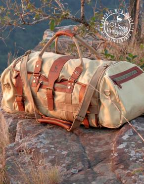 Voyager II Canvas & Leather Safari Duffle Bag (with built-in Suit Bag)