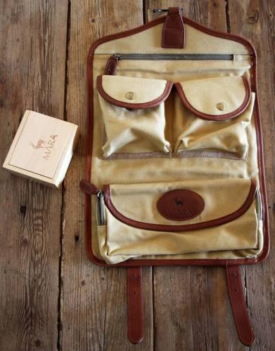 Mara&Meru™ Canvas & Leather Selous Washbag, with wooden soap box