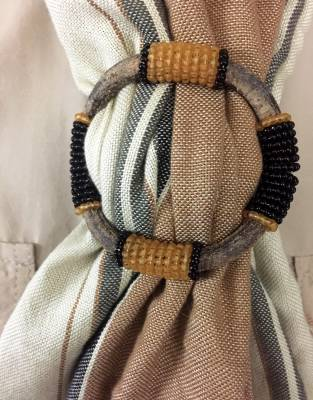 Beaded Leather Sarong Clasps by Safari Store