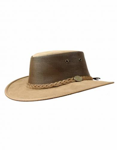Barmah Foldaway Leather Suede Safari Hat