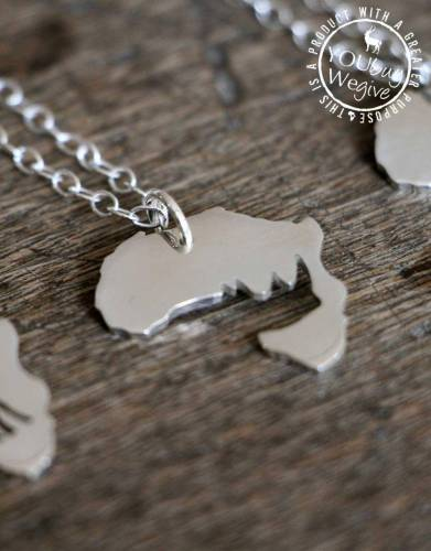 Mara&Meru™ Black Rhino Africa Silver Necklace
