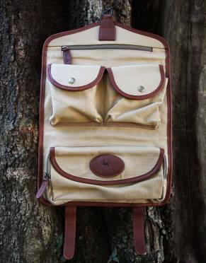 FACTORY SHOP - Mara&Meru™ Canvas & Leather Selous Travel Toiletry Bag by Safari Store