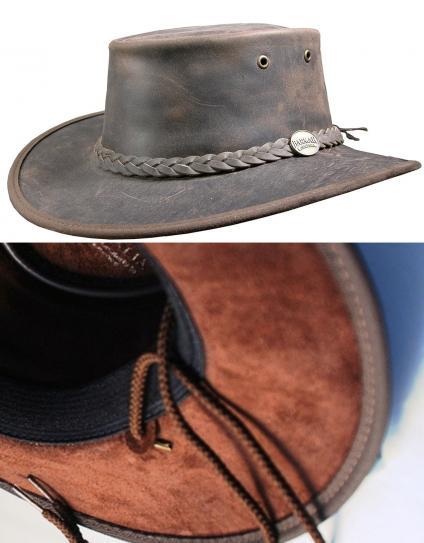 Barmah Foldaway Bronco Full Grain Leather Safari Hat