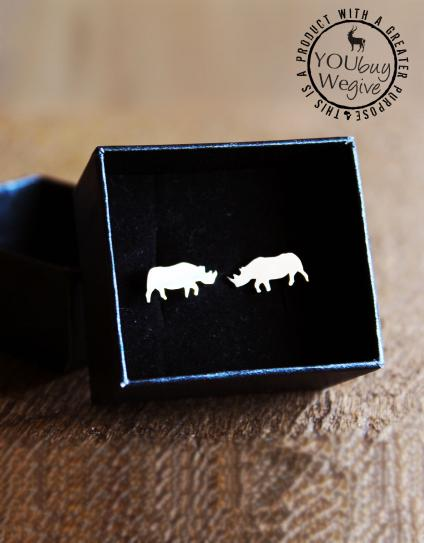 Mara&Meru™ Black Rhino Silver Cuff-links