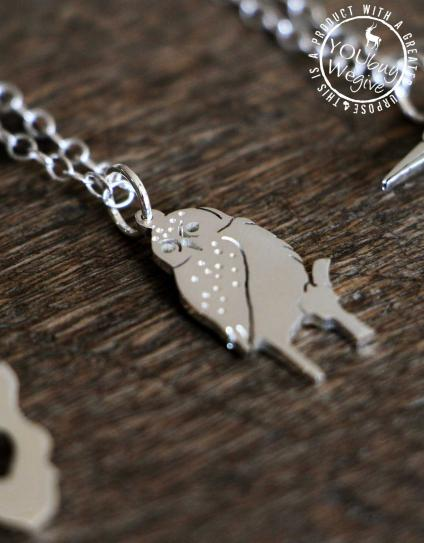 Mara&Meru™ Pearl Spotted Owlet Silver Necklace