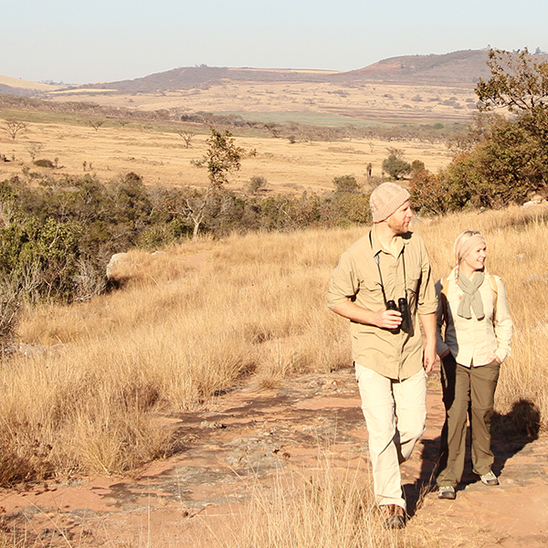 Man and woman dressed in safari shirts, zip-off trousers, and knitwear and with binoculars on a walking safari in Africa