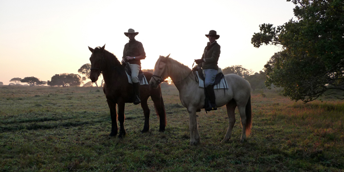 A man and a woman in safari clothing on horseback at sunrise on a horse safari in St Lucia, South Africa