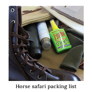 A bag with leather boots, insect repellent, sunscreen, and binoculars - items included on the horse safari packing list