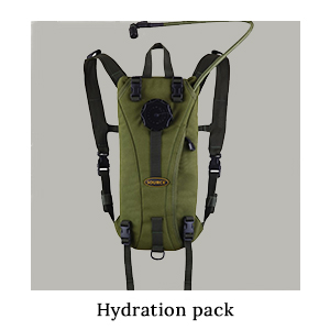 A hydration backpack for staying hydrated and carrying a supply of safe drinking water when running on safari in Africa