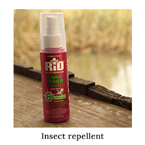 DEET-based Australian-made RID Tropical Strength Insect Repellent Spray for insect protection on an active safari in Africa