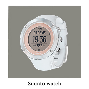 A pink and white Suunto Ambit3 Sapphire watch for telling the time, GPS, and fitness stats when running on safari in Africa
