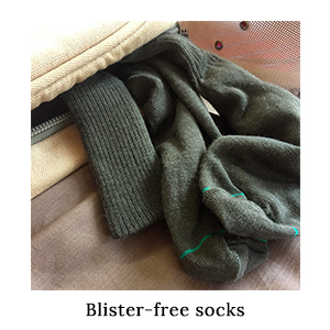 1000Mile Blister-Free Safari Socks in a canvas bag, packed for running on safari in Africa