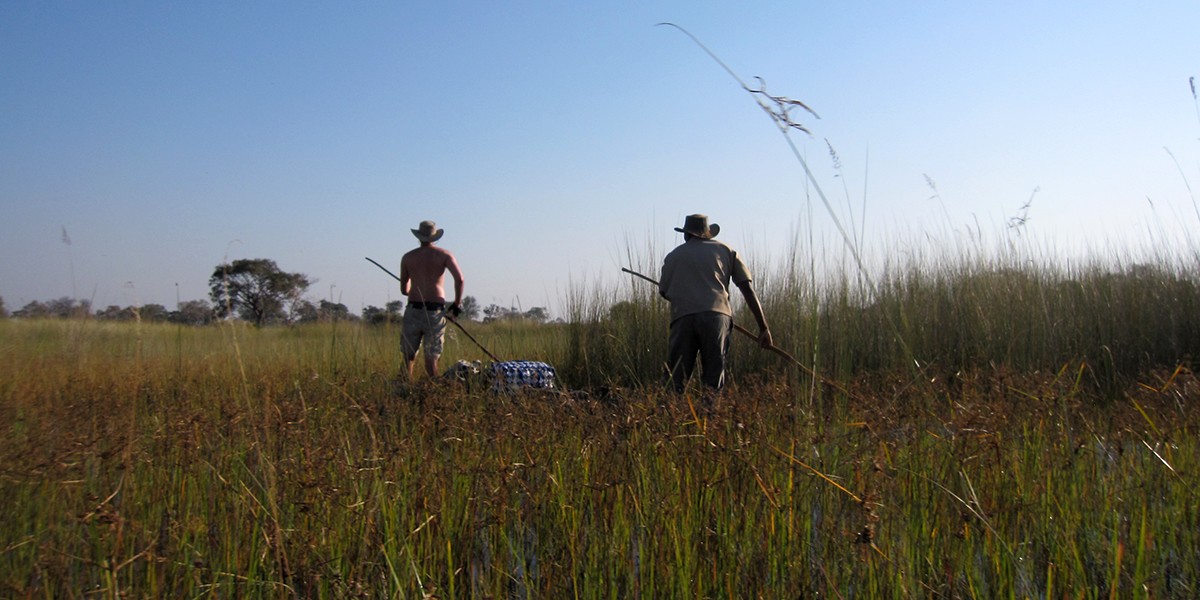 Two men poling a mekoro in the Okavango Delta, expedition testing safari clothing, luggage, and gear on a paddling safari