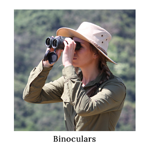 A woman in safari clothing game-viewing or bird-watching through a pair of binoculars on a walking safari in Africa