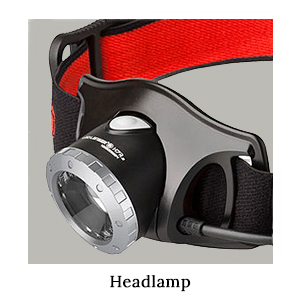 The LedLenser headlamp torch with black and red strap for running on safari in Africa