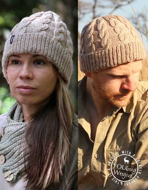 Men's and women's cableknit beanie for farmers