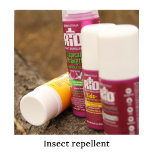 The Australian-made, DEET-based RID insect repellent range for adults and children for beach and bush on a blue safari