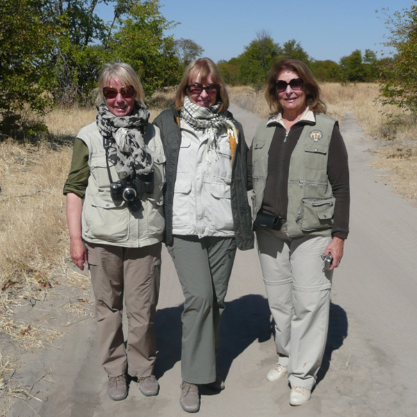 Brenda Stevens along with her sister and friend in Botswana, 2013