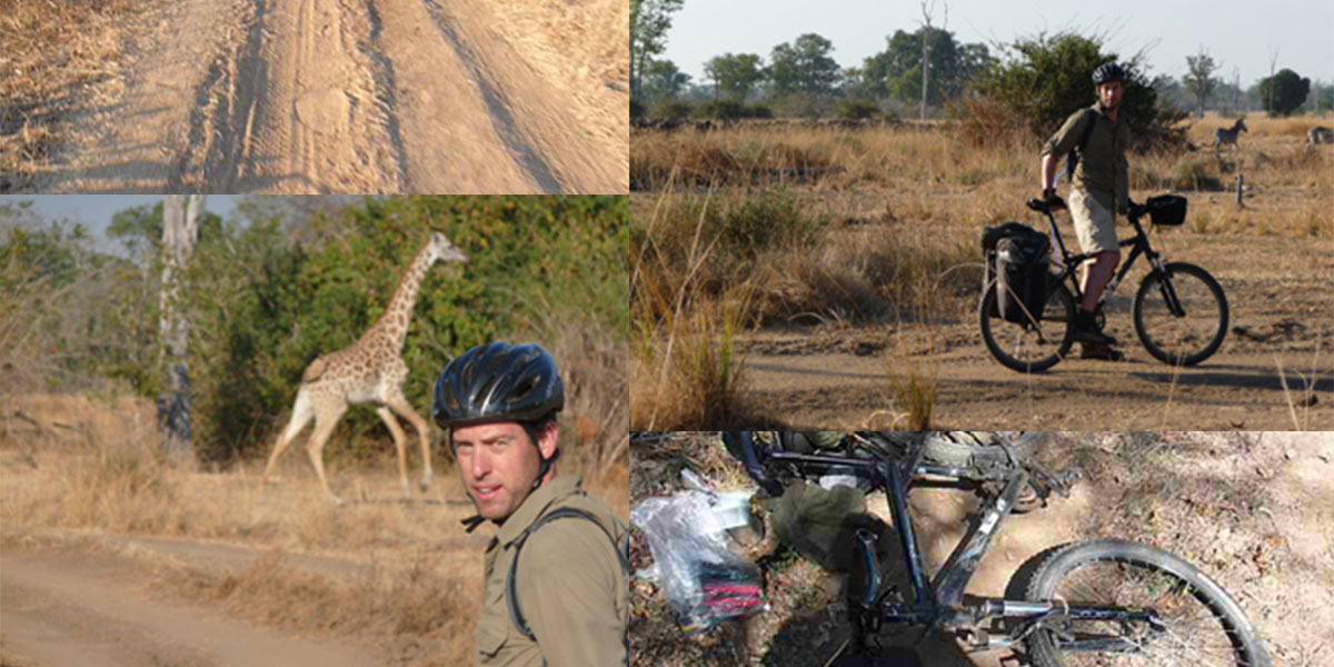 Medley of Steve expedition testing safari clothing and safari gear and encountering game on a cycle safari in North Luangwa
