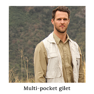 An outdoorsman on safari wearing a safari shirt and a multi-pocket gilet with lots of pockets in technical fabric