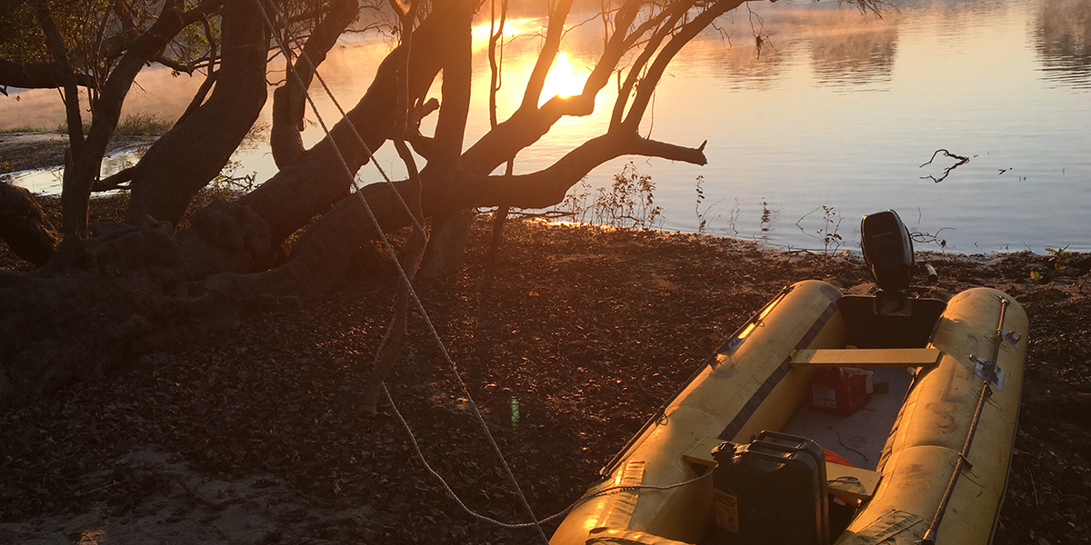A yellow inflatable boat with motor tied to a tree on the shore of the Kafue river in Zambia at sunrise or sunset