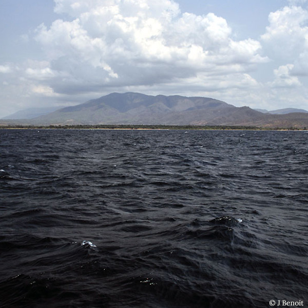 View of the Mahale mountains in Tanzania from the waters of Lake Tanganyika