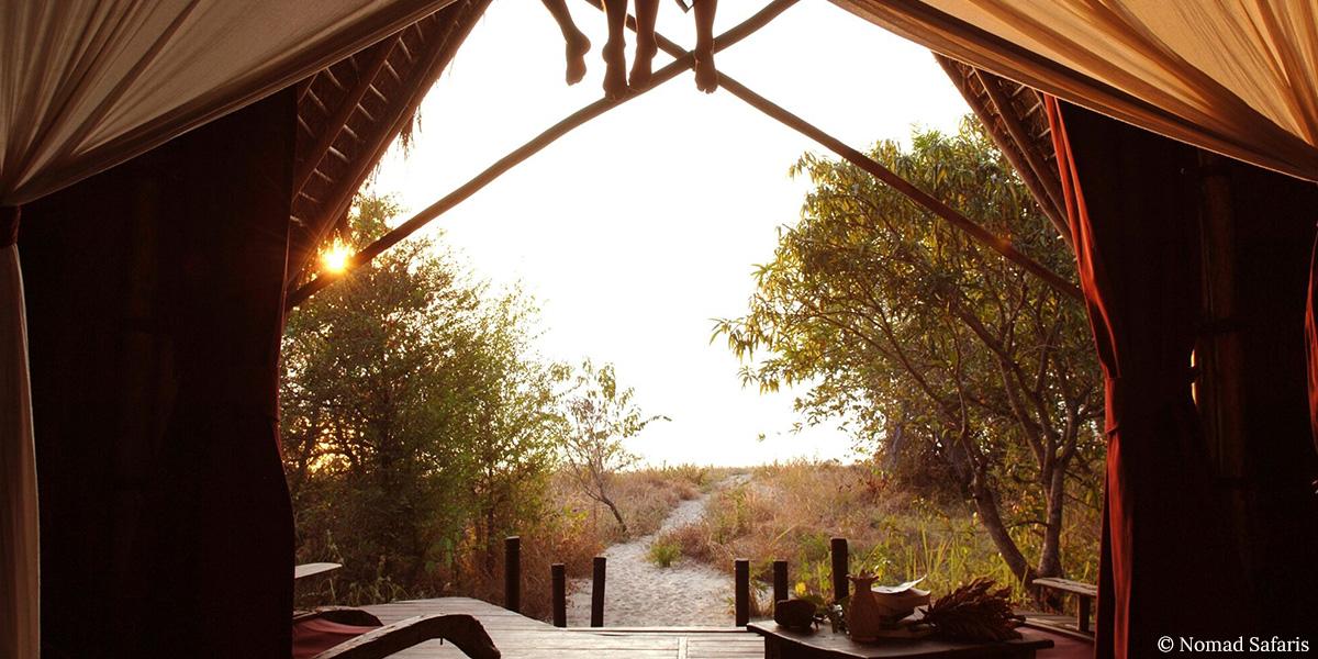 Luxury safari accommodation overlooking the African bush in Mahale, Tanzania