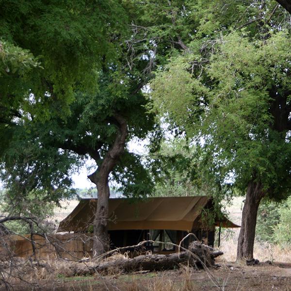 A canvas tent at Chada Katavi Camp in Tanzania, Africa