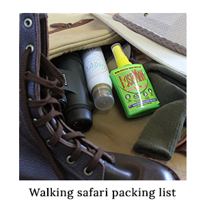 A bag with leather boots, insect repellent, sunscreen, and binoculars - items included on the walking safari packing list