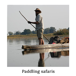 A man in safari clothing and a hat poling a mekoro of luggage in a paddling safari in the Okavango Delta in Botswana