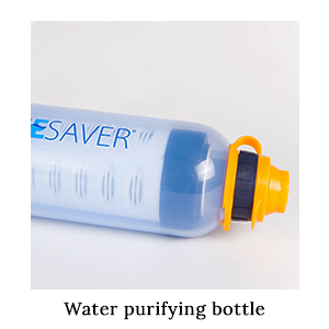 A blue, white, and yellow Lifesaver water purifying bottle on its side, used for safe drinking water on a paddling safari