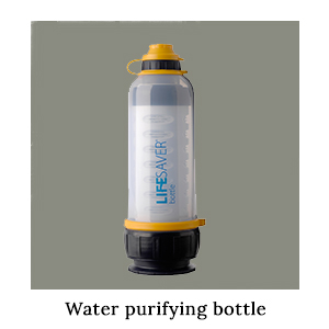 A blue, white, and yellow Lifesaver water purifying bottle for obtaining safe drinking water on a paddling safari