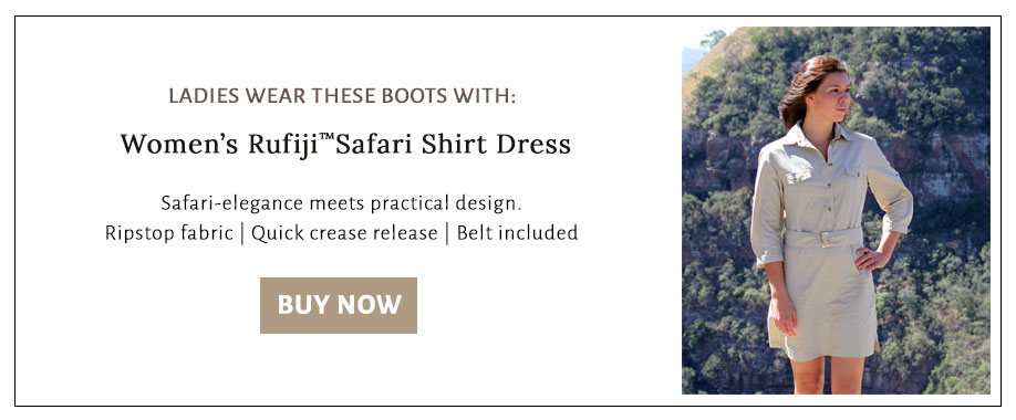 Buy a safari shirt dress to wear with the Rufiji combat boots to get a stylish and rugged adventure look
