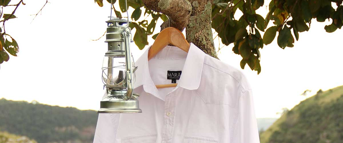 A white collared shirt hanging in a tree next to a silver lantern