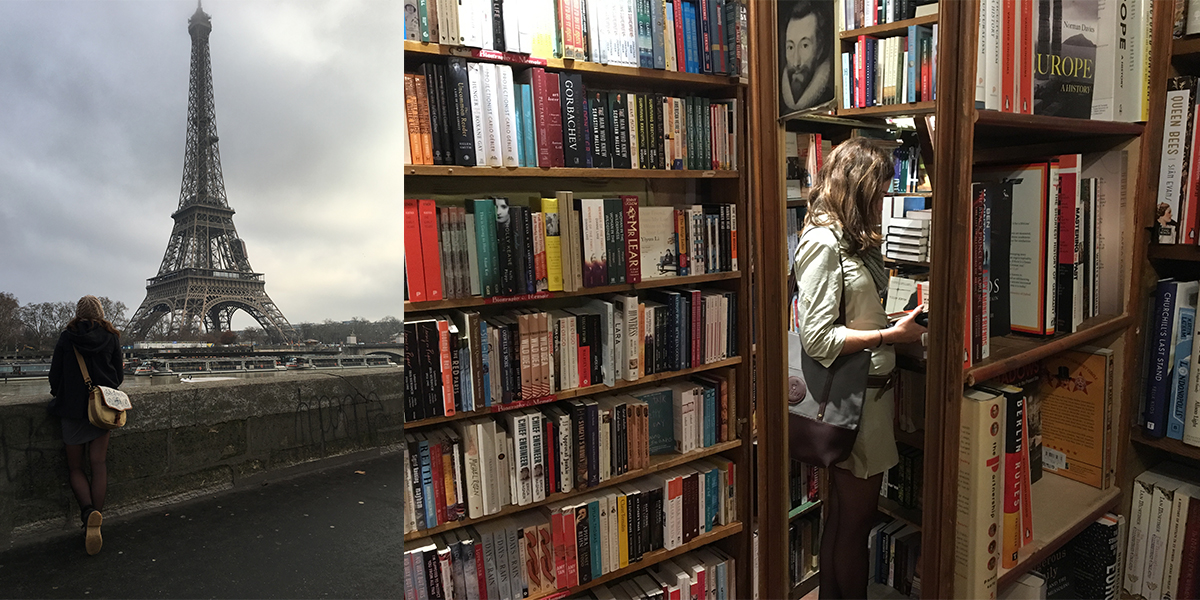 A woman in France in front of the Eiffel Tower and a woman browsing for books in a bookshop