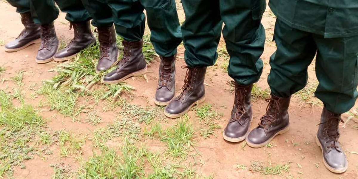 An anti-poaching unit in Africa wearing their brand new leather combat boots donated by The Safari Store through our YOUbuy,WEgive initiative
