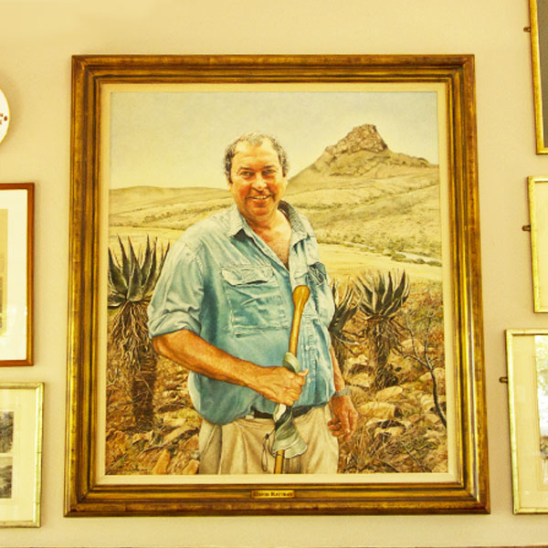 A portrait of the late David Rattray in the dining area.