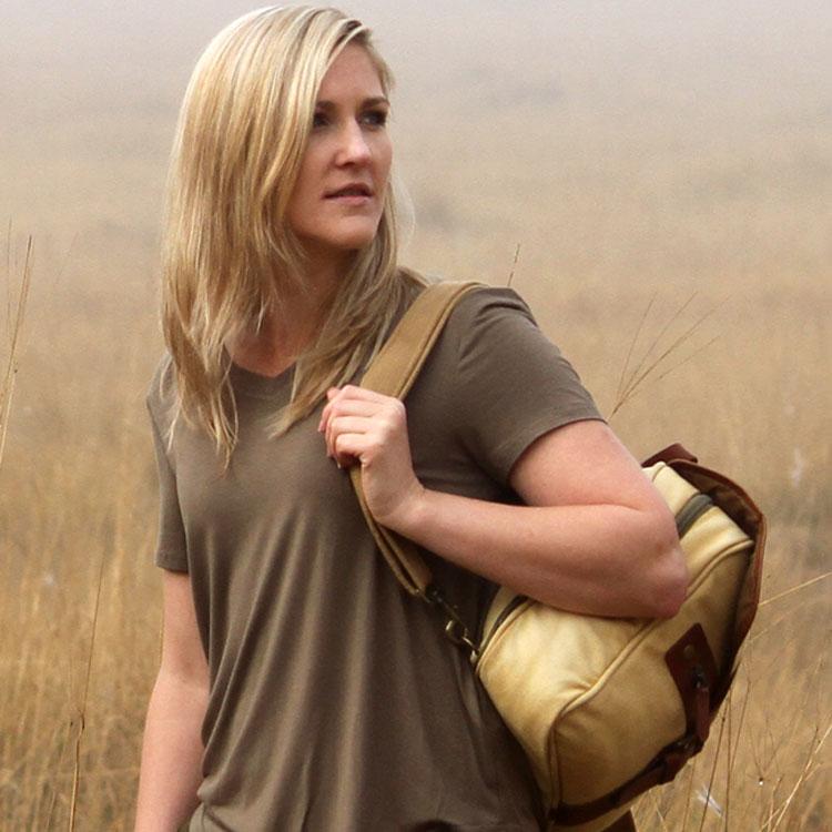 Woman wearing a summer tee shirt, v-neck