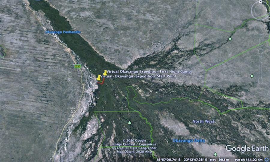 Okavango Delta Satellite map day 1 virtual okavango expedition