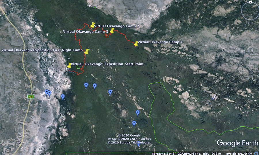 Okavango Delta Satellite map day 4 virtual Okavango expedition