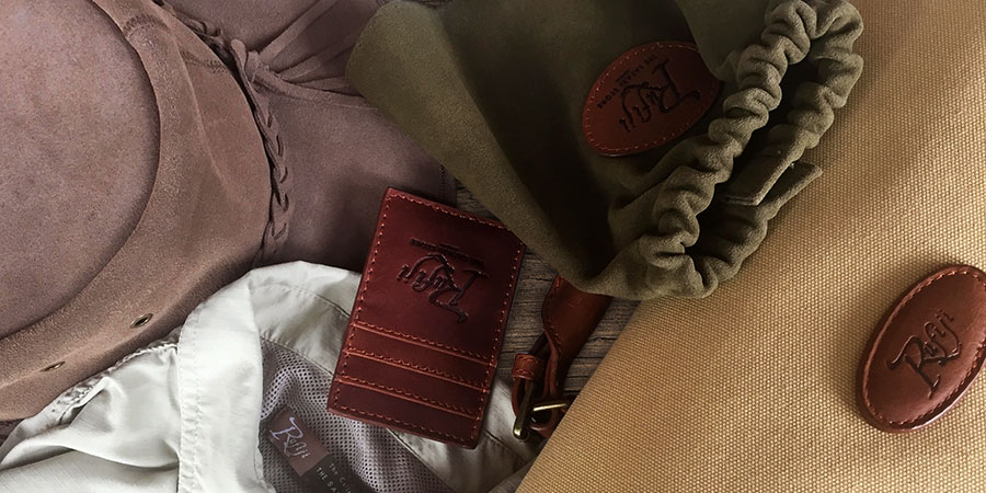 A selection of Rufiji clothing and branded luxury safari gear