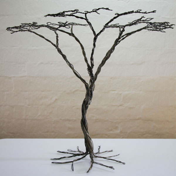 An Acacia tree crafted from wire