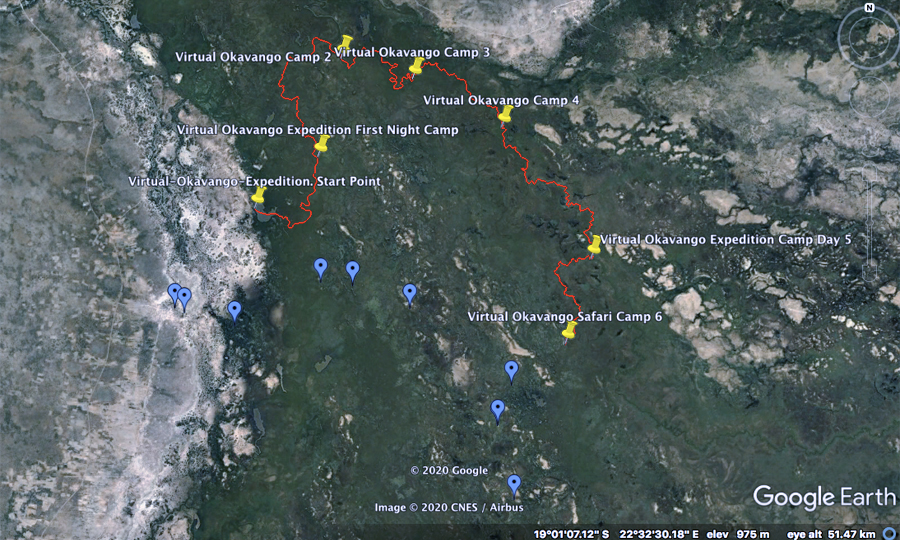 Okavango Delta Satellite map day 6 virtual Okavango expedition