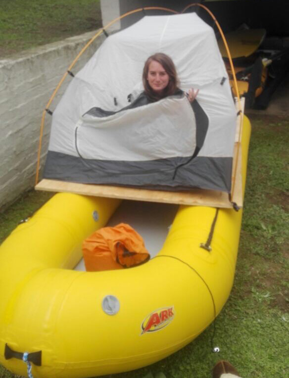 Tent on an inflatable boat