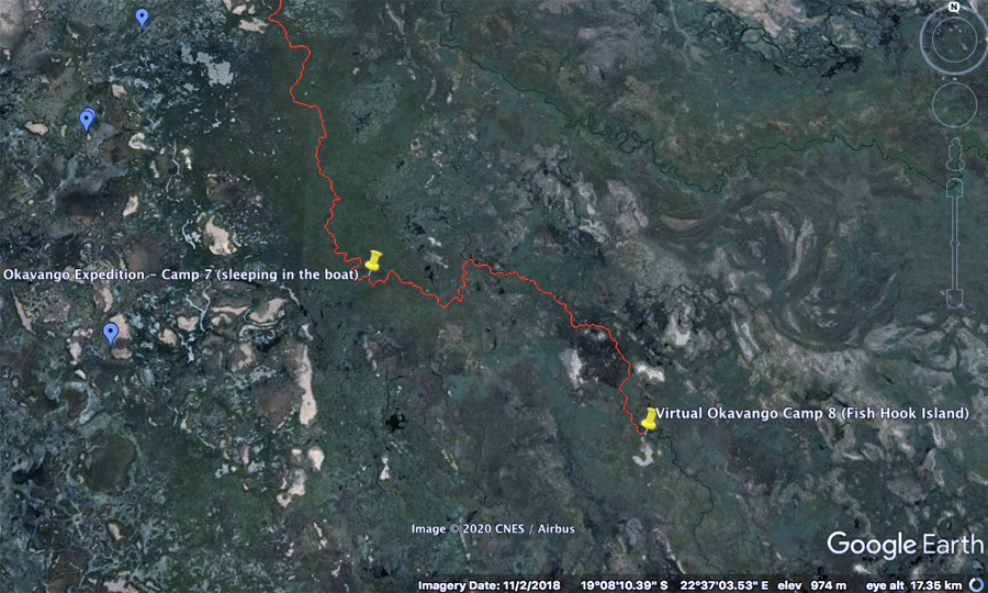 Okavango Delta Satellite map day  virtual Okavango expedition