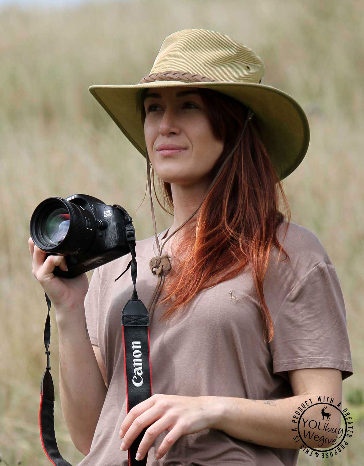 Women's canvas safari hat in Khaki. Get safari hat sun protection for travel, outdoor, & safari.